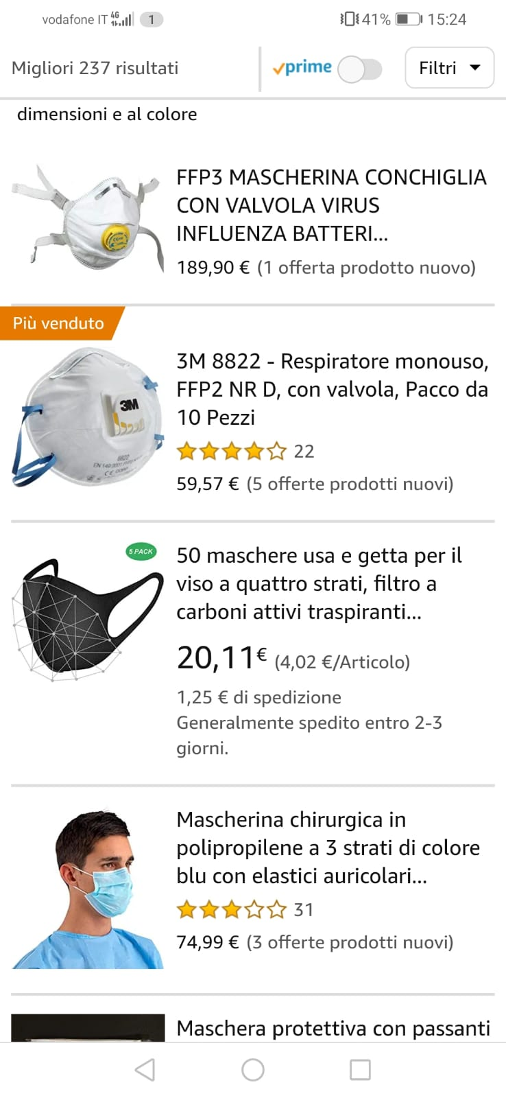 3m mascherina amazon